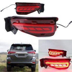 LED Red Reflector Brake Light Bumper Lamp For Toyota Fortuner 2016 2017