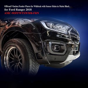 Offroad 9 Inches Fender Flares for Wildtrak With Censors in Matte Black