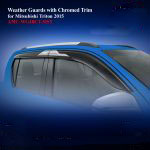 Weather Guards for Mitsubishi Triton 2015 With Chromed Trim
